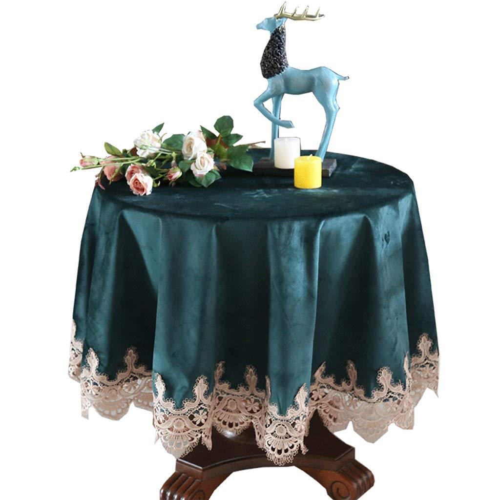 perfecto YEUNG Restaurante Mesa Redonda De Mantel Mantel Mantel De Café con Encaje De Terciopelo Decoración para El Hogar Fiesta De Fiesta De Color Verde Oscuro (Tamaño : 220cm)  nuevo estilo