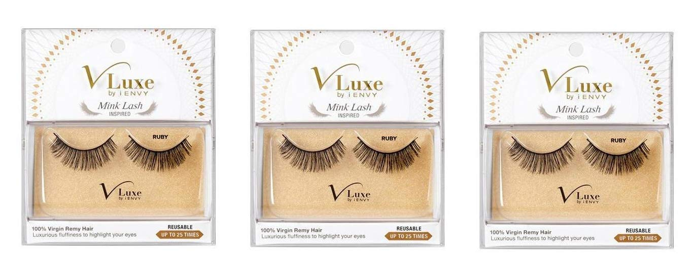 bf1e451814a Amazon.com : [VALUE PACK OF 3] V LUXE BY iENVY MINK LASH INSPIRED (VLEF05  RUBY) LUXURIOUS FLUFFINESS TO HIGHLIGHT YOUR EYES Reusable (Up To 25 Times)  : ...