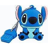 Jiefuxin 16Go DataTraveler USB 2.0haute vitesse en silicone Design cartoon Stitch Memory Stick Pen Drive–Bleu