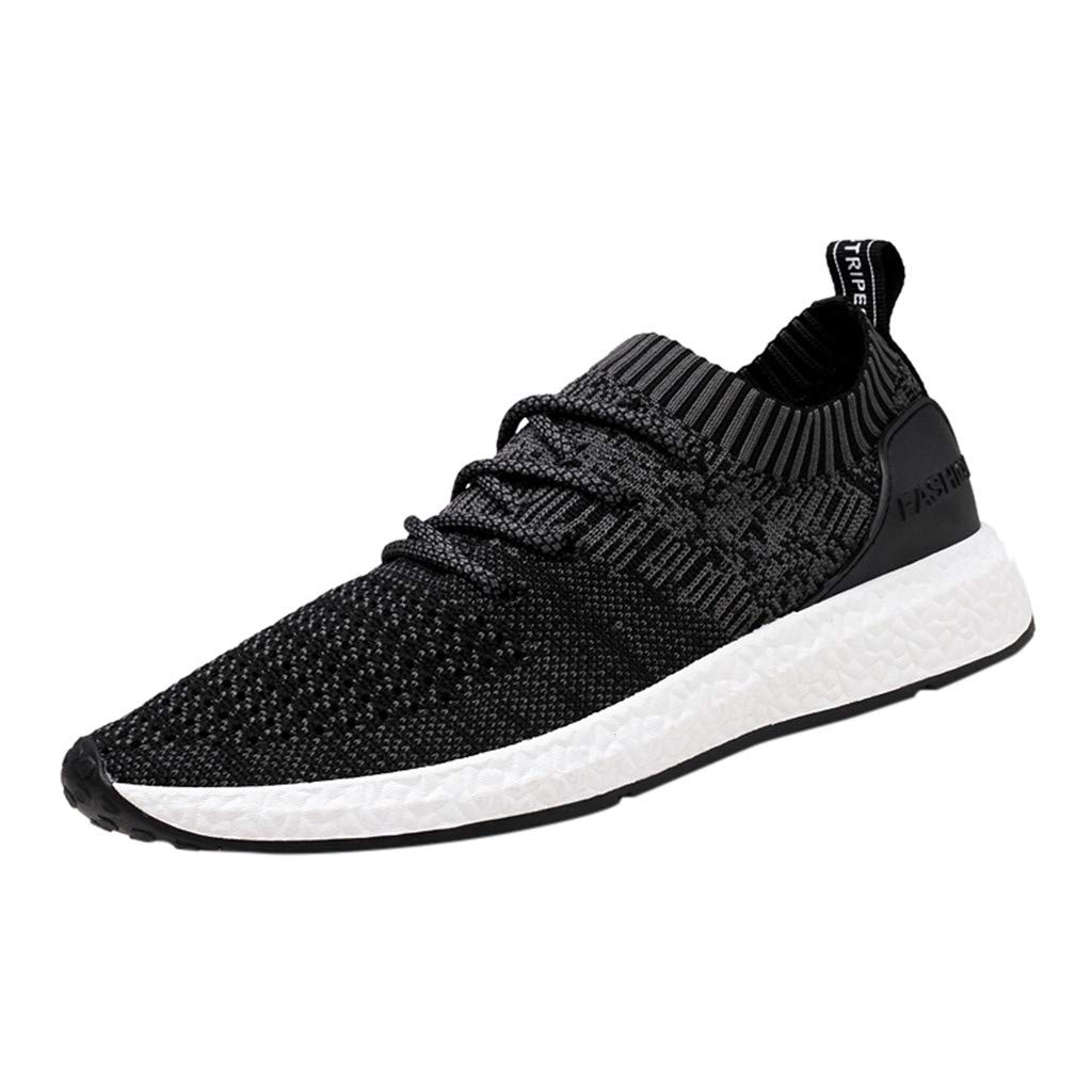 Lloopyting Mens Braided Breathable Walking Shoes Mesh Fashion Sneakers Non Slip Lightweight Casual Tennis Running Shoes Black