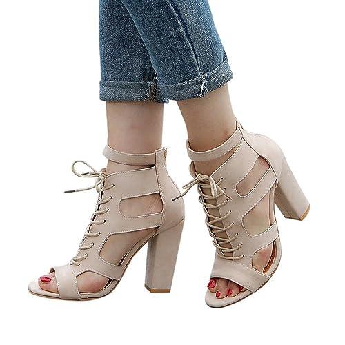 8f760b1990f0 Women Sandals Scrub Hollow Out Cross Tied Rome Shoes Super Heel  Amazon.ca   Shoes   Handbags