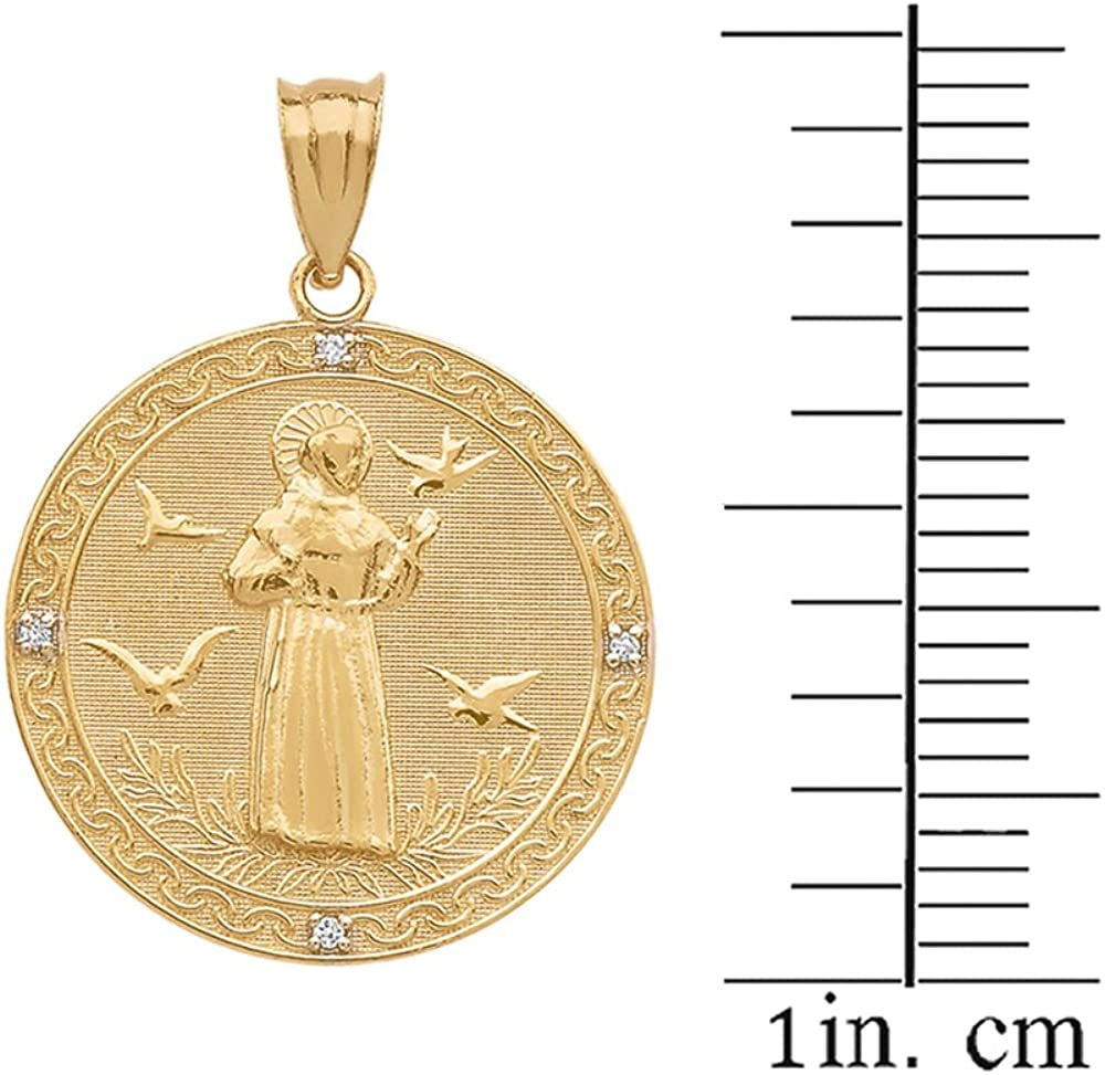 Details about  /14K Yellow Gold Saint Francis of Assisi Round Medal Charm Pendant MSRP $491