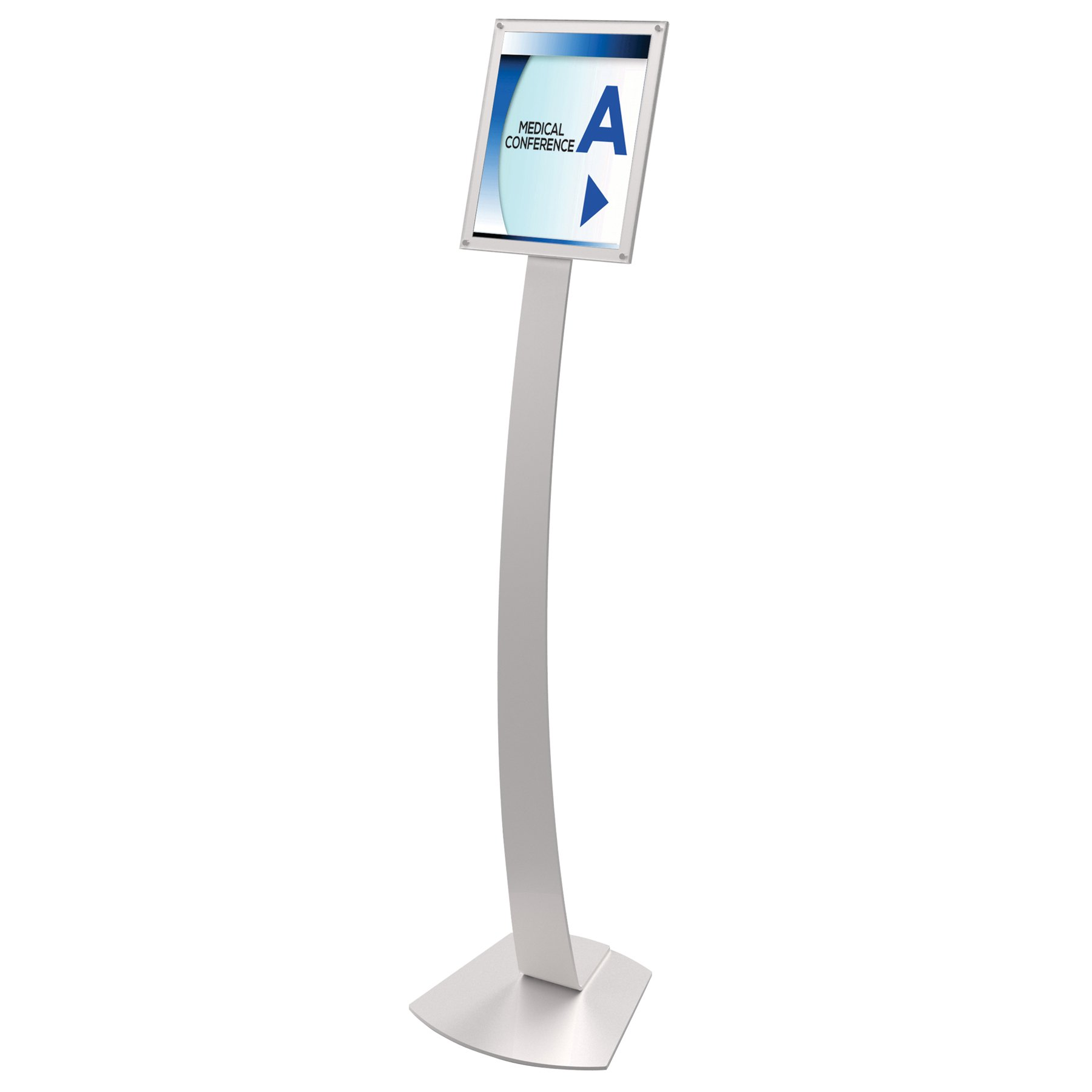 Deflecto Contemporary Sign Stand, 8.5 x 11 Inches, Silver (693245)