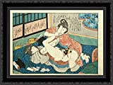 Lesbians having sex by a harikata (dildo) 24x18 Black Ornate Wood Framed Canvas Art by Utagawa Kunisada