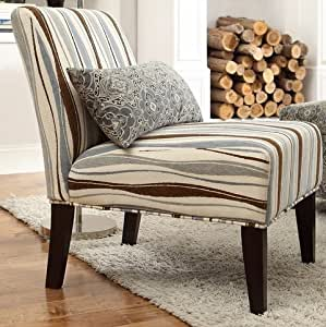 striped living room chair peterson vertical wavy striped fabric armless 15053