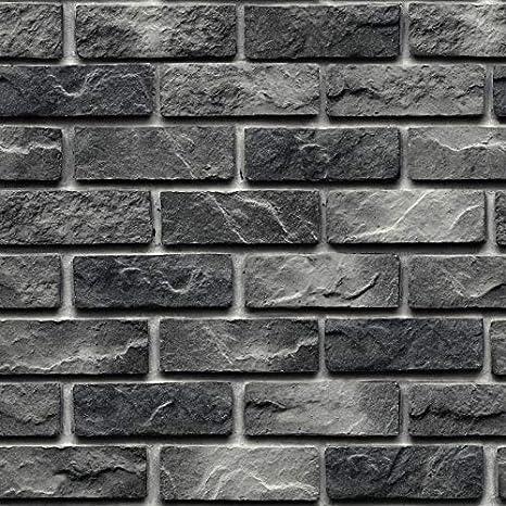 Wallpaper Roll 3d Black Grey Retro Brick Pattern Paper