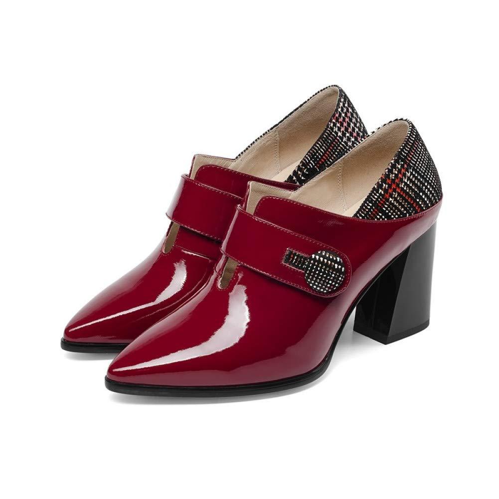 PINGXIANNV Frühlings-Art Und Weise Mischte Farben-Büro-Frauen-Pumpen Spitze Spitze Spitze Schwarze Und Rote Schuhfrauen  d7a42e