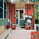 leinuoyi Vintage, Outdoor Curtain Modern, Retro Scooter Sign for Bike Bicycle Rent Classic Grunge Illustration Artwork, Outdoor Curtain Panels for Patio Waterproof W72 x L108 Inch Red Black White