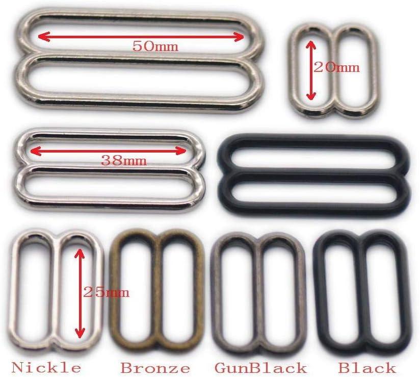 micoshop 15 St/ück Metall Widemouth Triglides Slides Schnalle 20 25 38 50 mm f/ür G/ürteltasche Gurtband Leder Handwerk 20mm Nickle