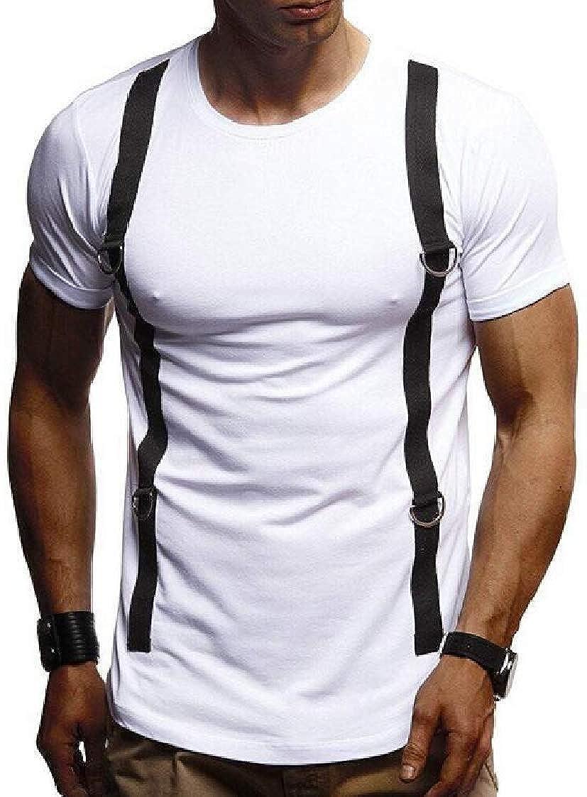 Nanquan Men Short Sleeve Stitching Stylish Summer Crewneck Casual T-Shirt