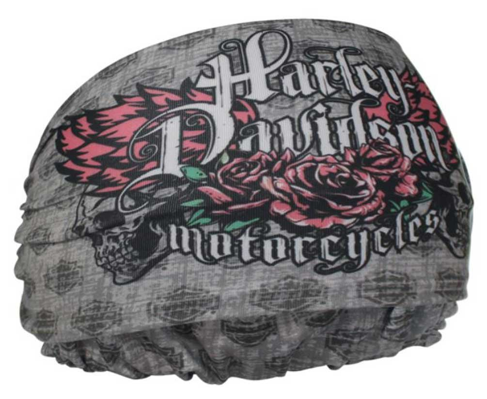 Harley-Davidson Women's H-D Wings Rebel Headband Scrunchie, Gray HE22554
