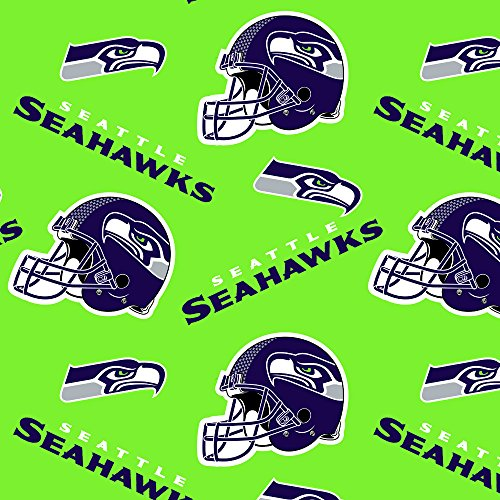 NFL Seattle Seahawks Polyester Fleece Fabric, Action Green & College Navy - Sold By the Yard