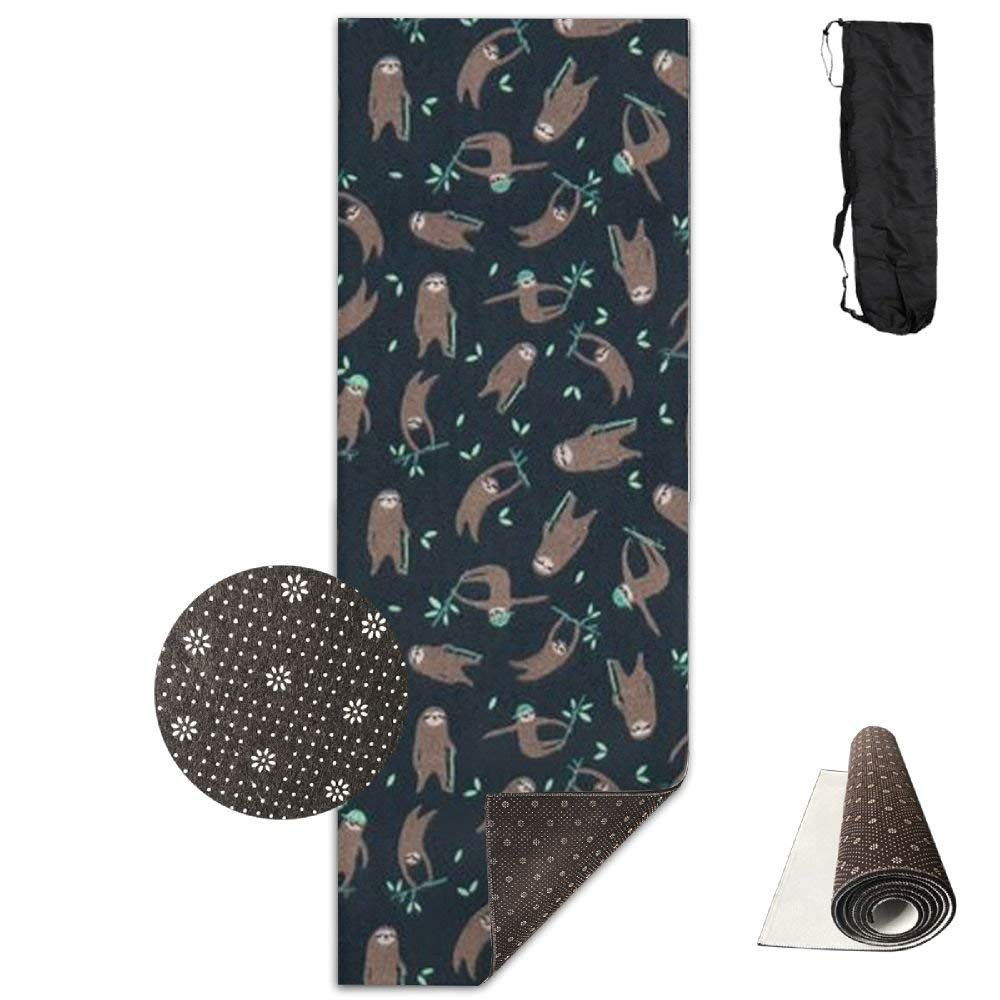 Dark blueeeGreen with Cute Brown Sloth Yoga Mat Towel for Bikram Hot Yoga, Yoga and Pilates, Paddle Board Yoga, Sports, Exercise, Fitness Towel