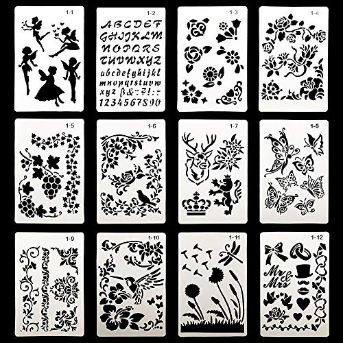 - Plastic Painting Stencils, Journal Drawing Templates Set for Planner/Notebook/Diary/Scrapbook DIY Craft (12pcs)
