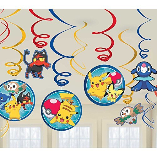 Amscan Pokemon Swirl Decorations, Party Favor -