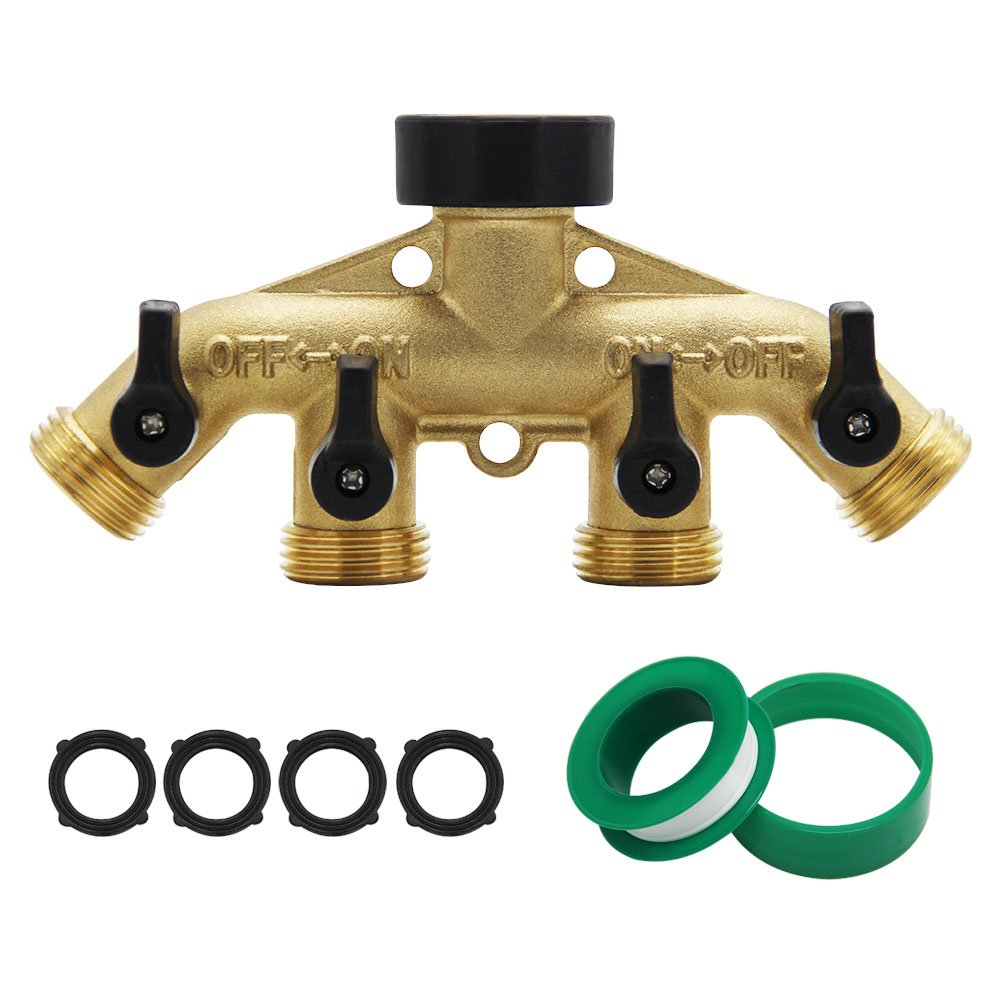 ATDAWN 4 Way Brass hose splitter, Heavy Duty Garden Hose Connector with 4 shut-off Valves 3/4 by ATDAWN