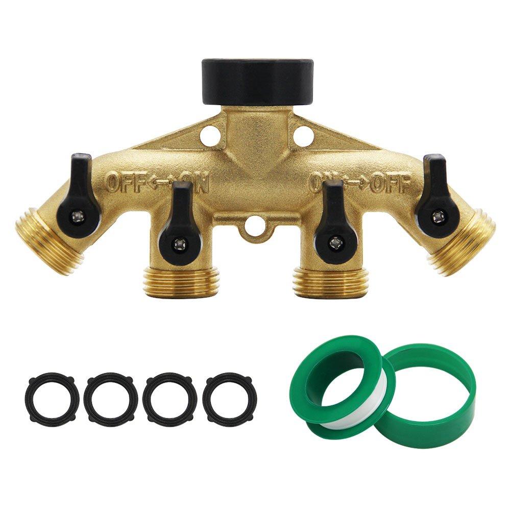 Maggift 4 Way Brass hose splitter, Heavy Duty Garden Hose Connector with 4 shut-off Valves 3/4''