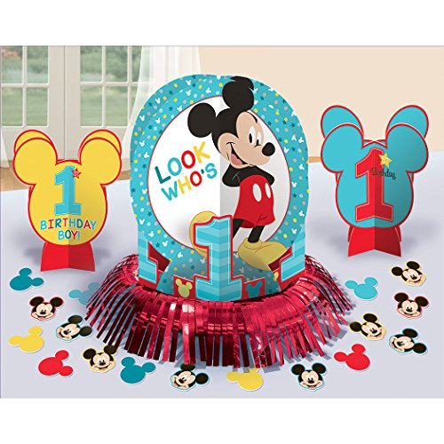 Mickey Mouse 1st Birthday 'Fun to Be One' Table Decorating Kit (Baby Mickey Mouse 1st Birthday Party Supplies)