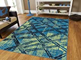 Luxury Fashion Modern Rugs For Living Room 5×8 Blue Green Black Distressed Rugs For Bedroom 5×7 Area Rugs Clearance under 50, 5×8 Blue Rugs Review
