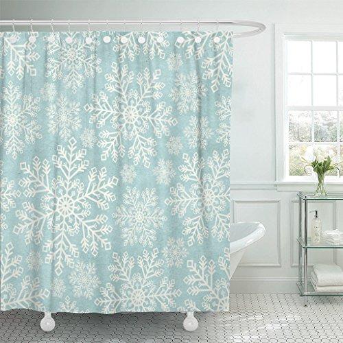 Emvency Shower Curtain Blue Vintage Winter Pattern on
