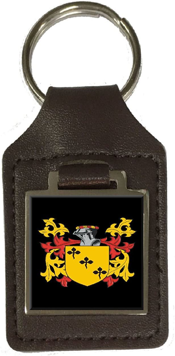 Syms Family Crest Surname Coat Of Arms Brown Leather Keyring Engraved