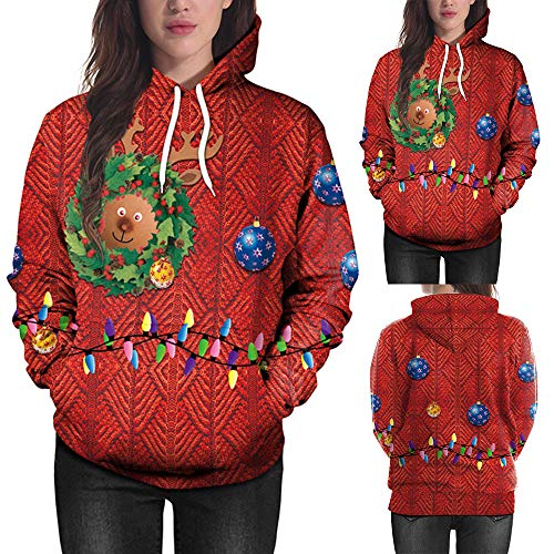 Clearance Sale! Wobuoke Women Christmas Deer 3D Printing Long Sleeve Hoodie Sweatshirt Pullover Top -