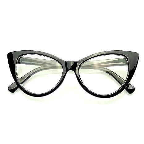 a34d421f127 Emblem Eyewear - Fashion Classic Vintage Eyewear Cat Eye Designer Shades  Frame Sunglasses (Clear Black)  Amazon.ca  Luggage   Bags