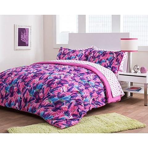 5 Piece Girls Pink White Tulips Comforter Twin Xl Set, Blue Purple Color Flower Printed Floral Pattern Reversible Polka Dots Design, Kids Bedding For Bedroom, Adorable Garden Teen Themed, - Polka Dots Teen Bedroom