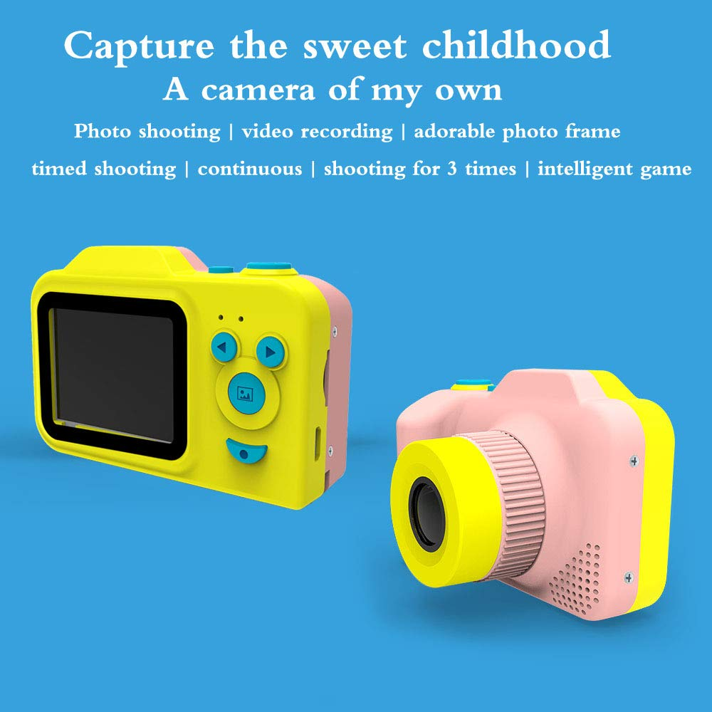 [Upgraded]Kids Camera 1080P Rechargeable Digital Front and Rear Selfie Camera Child Camcorder for Outdoor Play, for 3-10 Years Old Children(Barbie Pink) by HYKT (Image #3)