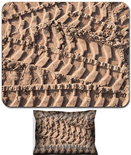 (Luxlady Mouse Wrist Rest and Small Mousepad Set, 2pc Wrist Support design IMAGE: 34075168 macro texture tire tracks in the sand in sunlight)
