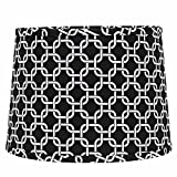 Home Collection by Raghu 6D990011 Black & White Greek Key Washer Drum Lampshade, 16''