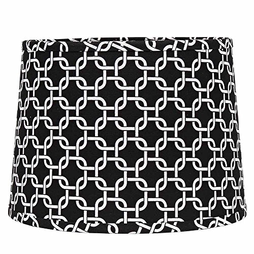 - Home Collection by Raghu 6D990011 Black & White Greek Key Washer Drum Lampshade, 16
