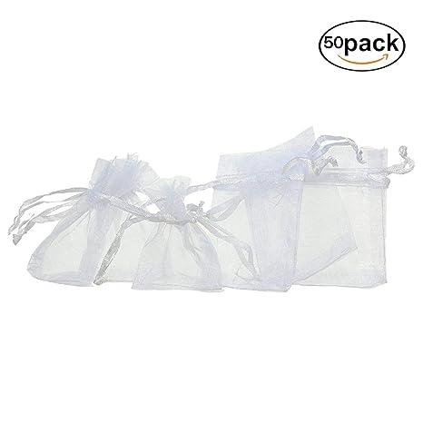 XSM 50 Bolsas de Organza Blanca Pequeñas 7 x 9 cm: Amazon.es ...
