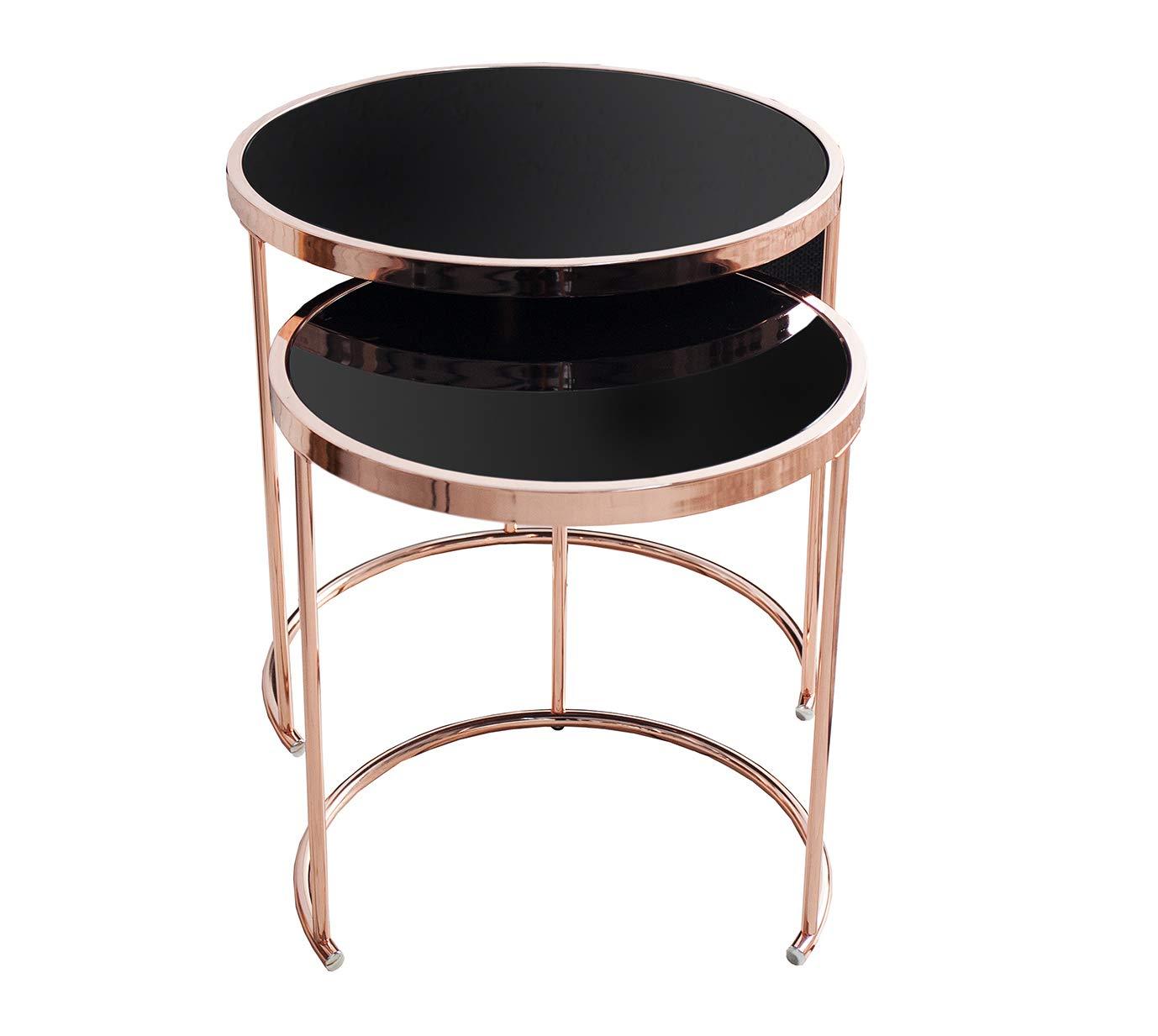 DuNord Design Beistelltisch Couchtisch Set 2er Set Couchtisch CANNES kupfer schwarz Art Deco Design Glastisch d477a6