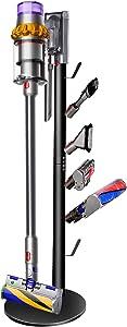 XIGOO Storage Stand Holder Compatible with Dyson V15 Detect V11 V10 V8 V7 V6 Cordless Vacuum Cleaners and Accessary, Floor Docking Station Metal Organizer Bracket with 6 Hooks,Black