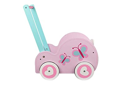 Toysters Wooden Push Walker Wagon For Toddlers Adorable Baby Doll Carrier Buggy Push Along Walking Toy And Doll Pram Includes Stroller Mattress