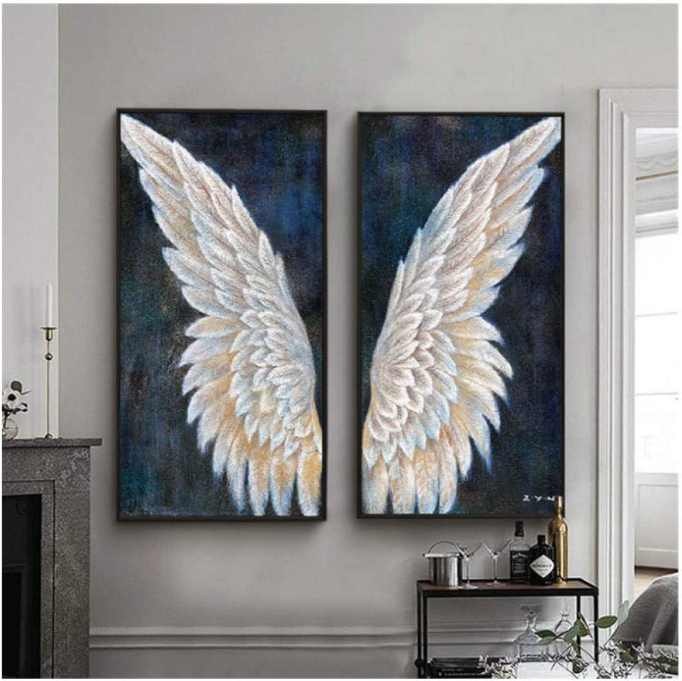 Large Canvas Wall Art Vintage Angel Wings Modern Painting Living Room Decoration Mural Home -40x80cmx2Pcs No Frame