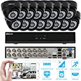 KKmoon 16 Channel NVR HD 960H / D1 Video Security System with 16-Piece 800TVL Bullet Cameras, 50ft IR LED Night Vision, IR-CUT Night View CCTV IP Cameras, Smartphone View Support, Plug it and Play it