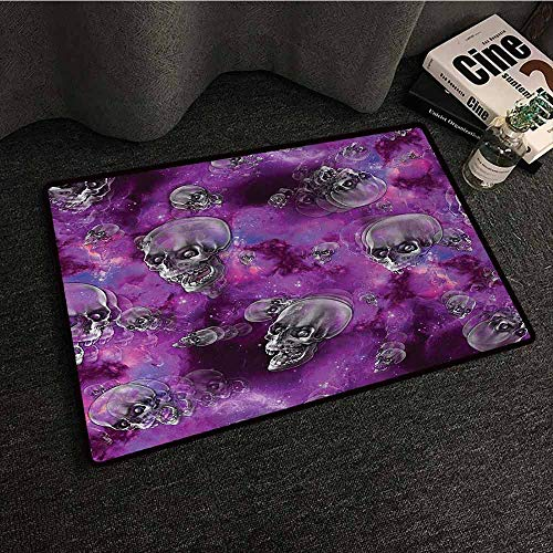 DuckBaby Non-Slip Door mat Skull Horror Movie Thirller Themed Flying Skull Heads Halloween in Outer Space Image Hard and wear Resistant W35 xL47 -