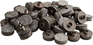 """Nail-On Heavy Duty Felt Pads for Wood Furniture and Hard Floor Surfaces – Protect your Hard Floor Surfaces from Scratches, 1"""" Round Furniture Protectors, Walnut Brown (48 Pieces)"""
