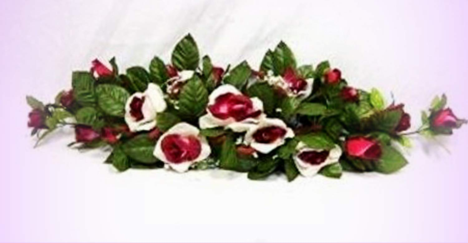 Inna-Wholesale-Art-Crafts-New-Rose-Swag-Cream-Burgundy-Silk-Centeripece-Decorating-Flowers-Arch-Gazebo-DIY-Perfect-for-Any-Wedding-Special-Occasion-or-Home-Office-Dcor
