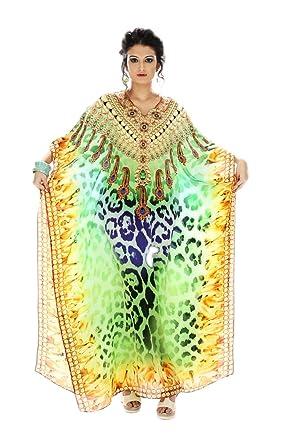15ca009a2a D G PRINTS FAB Women's Premium Turkish Kaftan Beach wear Swimwear Bikini  Cover ups Beach Dress