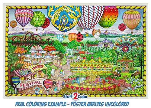 """Balloon Festival- Giant Wall Size Coloring Poster - 32.5"""" X 22"""" (Great for Family Time, Adults, Kids, Classrooms, Care Facilities and Group Activities - Includes Reusable Rigid Storage Tube)"""