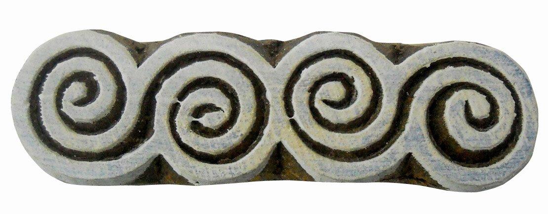 Spirale in legno blocco timbro/Adesivo/Tessile indiano blocco di stampa Crafts of India