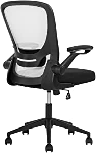 Office Chair Desk Chair Computer Chair with Lumbar Support Flip-up Arms Swivel Rolling Executive Task ChairMesh Adjustable Ergonomic Chair for Adults(White)