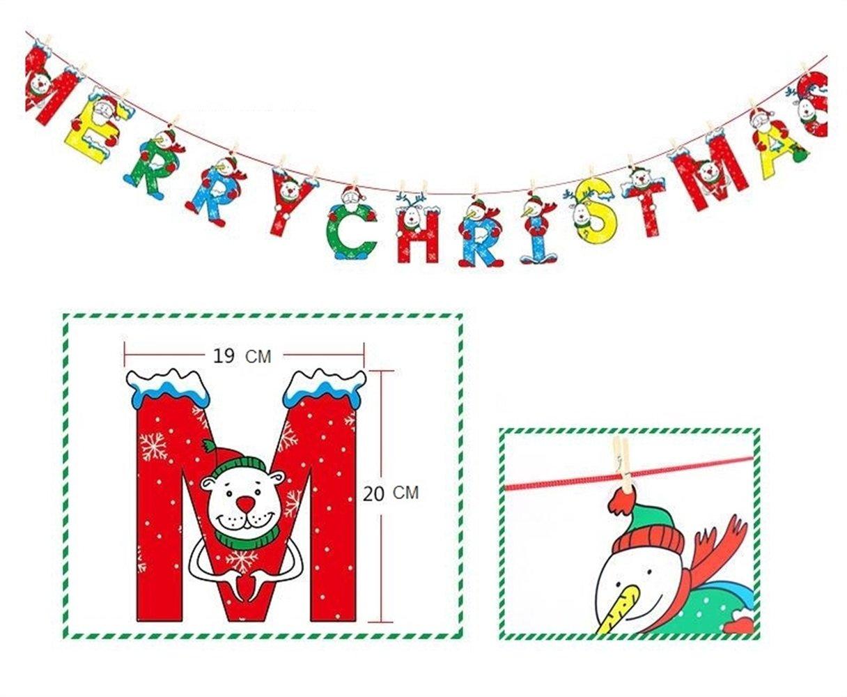 Strollway Partydekorationen Party Anhänger Bunting Weihnachtsdekoration Wimpel Weihnachten Supplies (Cartoon Englisch)