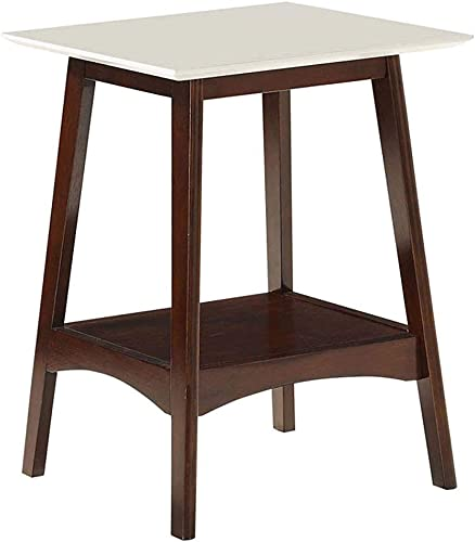 Convenience Concepts Alpine End Table, White Top Espresso Frame