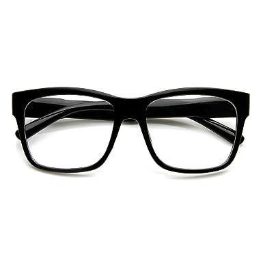 849d49261db00 Rétro Cadre noir Verres transparents pour look Geek Lunettes style ...