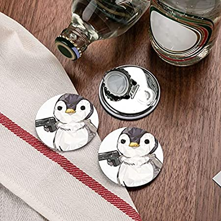 Pingüino Abrebotellas Redondo / Imanes De Nevera Sacacorchos De Acero Inoxidable Etiqueta Magnética 2 Piezas