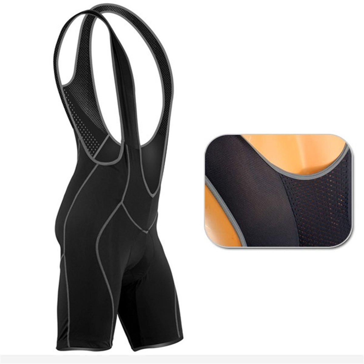 Apparelsales Mens Cycling Compression Shorts Bicycle Bike Bib Pants Skin Tights Overalls with Pad Black